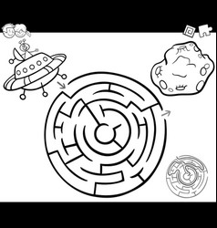 Maze with ufo coloring page vector