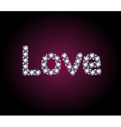 Diamond love word vector