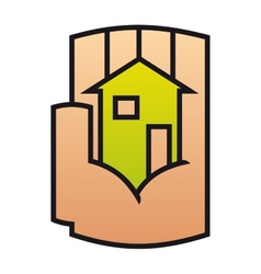 Home icon protected in a stylized hand vector