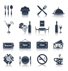 Restaurant icons set black vector
