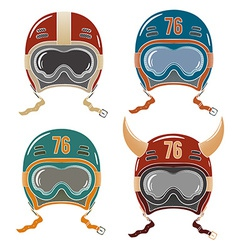 Colored helmets racer vector