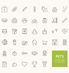 Pets outline icons for web and mobile apps vector