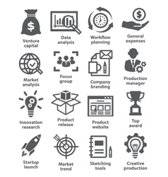 Startup business and development icons vector