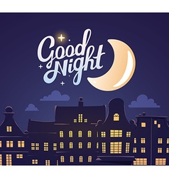 Silhouette of close up night city landsca vector