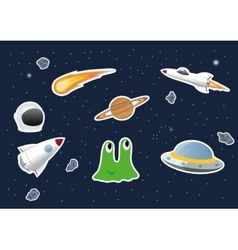 Space theme stickers vector image