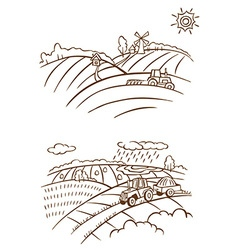 Agriculture landscape with tractor vector