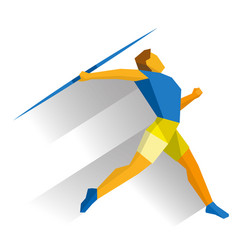 Athlete throwing javelin isolated on white vector