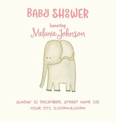 Beautiful doodle baby shower card wirh watercolor vector