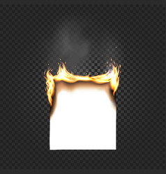 Burning paper sheet a4 edges close up isolated on vector