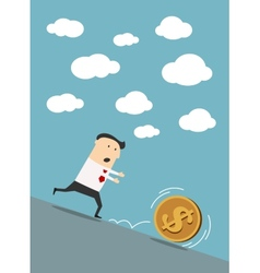 Businessman chasing dollar coin in cartoon style vector