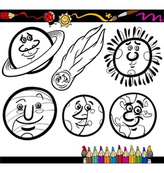Cartoon planets and orbs coloring page vector