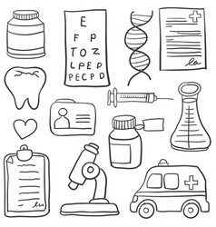 doodle of medical element various vector image