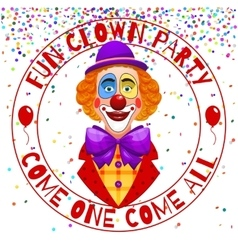 Fun clowns party invitation Funny happy laughing vector image vector image