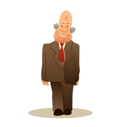 Funny old man stands business elderly man smiling vector