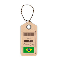 hang tag made in brazil with flag icon isolated on vector image