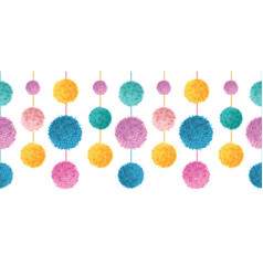 happy colorful birthday party pom poms on vector image vector image
