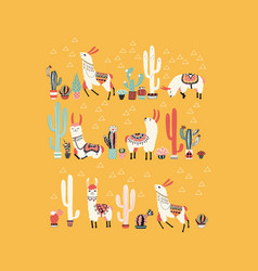 Happy llama with cactus in a pot vector
