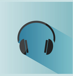headphones icon on a blue background with shade vector image vector image