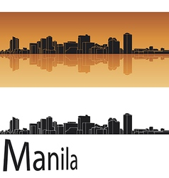 Manila skyline in orange background vector