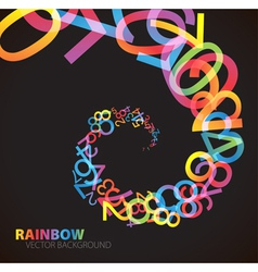 rainbow number background vector image vector image