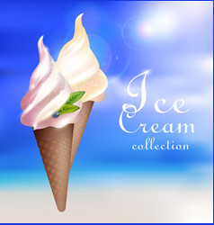 Realistic sundae ice cream concept vector