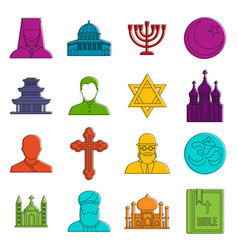 religious symbol icons doodle set vector image vector image