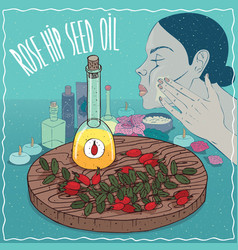 Rose hip seed oil used for skin care vector