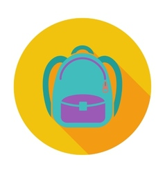 Schoolbag flat icon vector