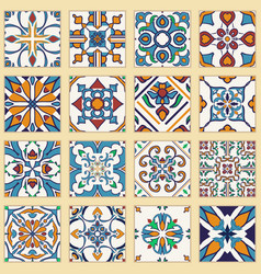 Set of portuguese tiles collection of colored vector