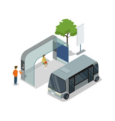 shuttle bus stop isometric 3d icon vector image