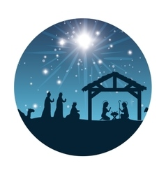 silhouette manger merry christmas isolated design vector image vector image