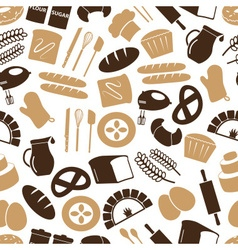 Simple bakery items icons seamless color pattern vector
