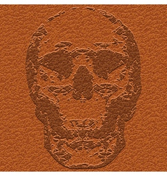 skull on leather vector image vector image