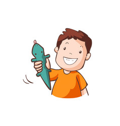 The boy in orange t-shirt with green rubber gecko vector