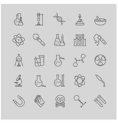 thin line chemistry icons set vector image vector image