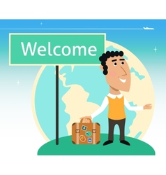 Vacation or business traveler character vector image