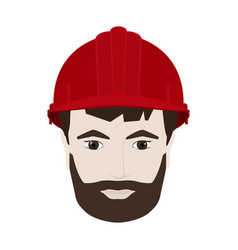 Working man in red hard hat vector