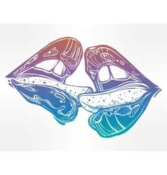 Sexy couple lips kissing vector