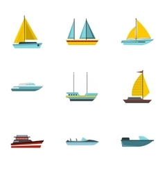 Ocean transport icons set flat style vector