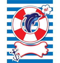 Funny card with dolphin anchor lifebuoy vector