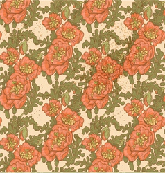 Seamless pattern of vintage decorative red poppies vector
