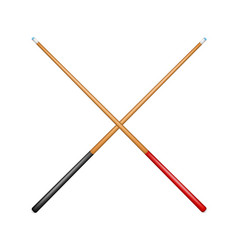 Two crossed billiard cues in retro design vector
