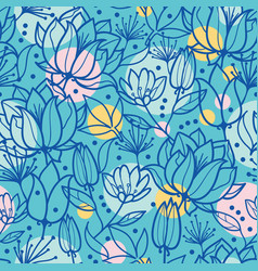 Spring flowers and bubbles seamless repeat vector