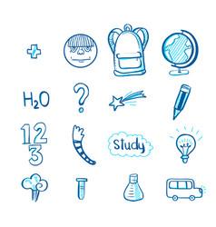 Education doodle icon set vector