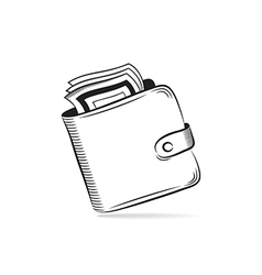 Wallet with dollars icon vector
