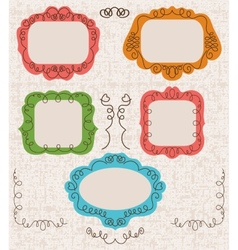 Vintage photo frames set drawing doodle style vector image
