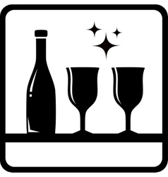 Bottle and wine glass silhouette vector