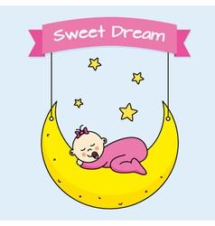baby girl sleeping on the moon vector image