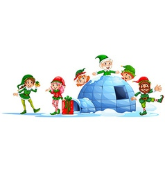 Elves playing outside the igloo vector