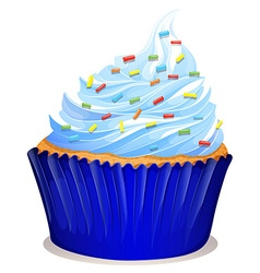 Blue cupcake with frosting vector